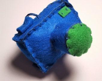 Felt Camera Christmas Ornament Plush 3-D: Blue and Green, Seahawks