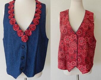 Vtg Embellished Denim Vest Handmade Dark Wash Buttoned Reversible (R2-157)