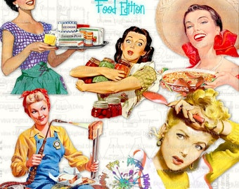 Retro Housewives Food Edition    Vintage 50s Women   Food Cooking Cocktails   Mid Century Modern    Clipart Instant Download
