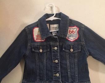 Girl's Jean Jacket Custom TePee Denim Route 66 Rick Rack Route 66