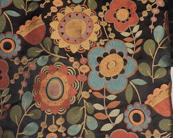 Black Red Gold Blue Floral Upholstery Pillow Fabric 1 Yard Modern Design
