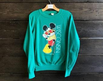 Vintage 80s Wisconsin Mickey Mouse Velva Sheen Sweatshirt