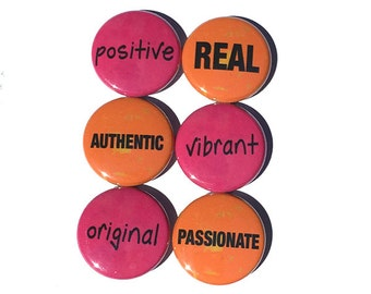 Word Magnets or Pins - Positive Affirmation Fridge Magnets or Pinback Button Set - Stocking Stuffer, Party Favor, Gift Under 10 Dollars