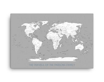 Custom Large World Map, Gray and White World Map, Family Travel Map, Personalized Gift For Family, Custom World Map, The Travels Of, Map