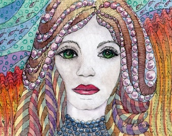 mermaid 8x10 art print - fairy fantasy the good wife green eyes string of pearls shoals of fish