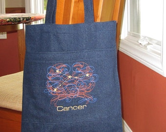 Constellation Cancer Birthday Astrological Sign Embroidered Design Denim Fabric Handy Tote
