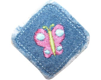 ID 2345 Butterfly Blue Jean Patch Denim Square Embroidered Iron On Applique