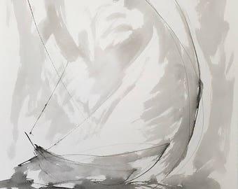 Sumi Ink Abstract Sailboat -Bay Racing 9