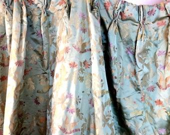 "DRAPES ...   2 Panels Antique Silk DrapesPleated with Hooks 28"" w x 80"" Lo ng w 5"" hem Lined ea"