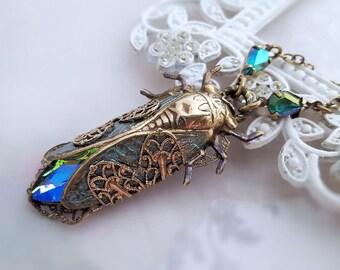 Cicada necklace, Cicada jewelry Art Deco jewelry, verdigris statement necklace insect jewelry, blue green Swarovski crystal pendant necklace