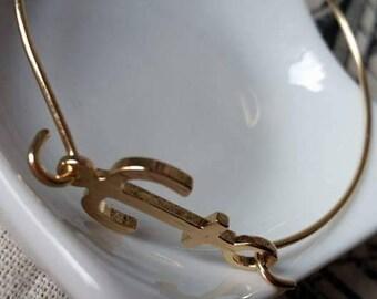Anchor Bangle Bracelet gold plated 5.5 cm