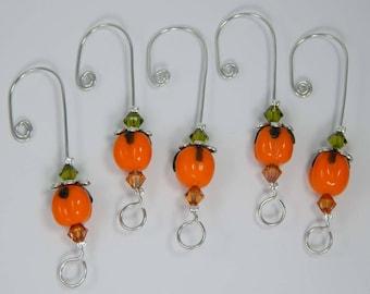 Pumpkin Ornament Hangers. Halloween Ornament. Ornament Hooks. Autumn Ornament. Ornament Hangers. Pumpkins.