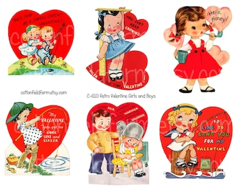 Retro Valentines Girls and Boys Digital Collage C-610 for Scrapbooking, Tags, Cards, Journaling Spots, Commercial Use