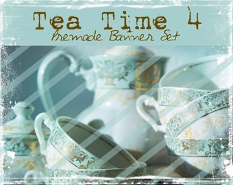 "Banner Set - Shop banner set - Premade Banner Set - Graphic Banners - Facebook Cover - Avatars - Bisiness Card - ""Tea Time 4"""