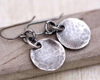 Rustic Sterling Silver Earrings,  Hammered Disc Earrings, Hammered EveryDay Earrings, Minimalist Earrings, Circle Earrings, Oxidized