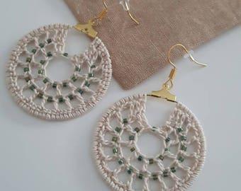 Hoop crochet earrings, crocheted earrings, minimalist earrings, statement earrings, boho moderne earrings,seed bead crochet, women gifts