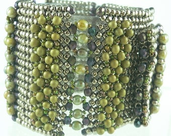 Maria RAW accent herringbone embellished beaded cuff bracelet: Instant Downloadable Pattern PDF File