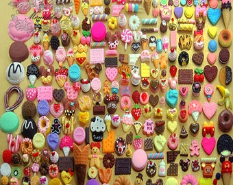 100 PCS X Mix Miniature Sweets Cabochon Assorted Kawaii Dollhouse food Cabochon Cake Waffle Cupcake Chocolate Fruit Bread Flat Back AK.SW