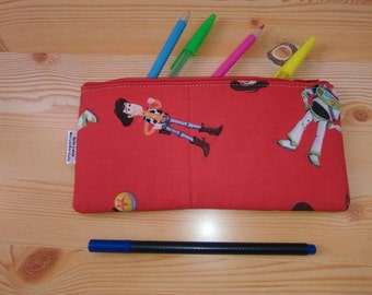 Toy Story, pencil case,red pencilcase,cartoon pouch,zippered pouch,kawaii pencil case,children pouch,child bag,kid travel pouch,cartoon bag