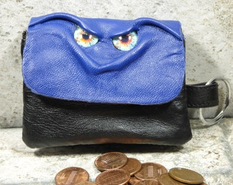 Zippered Coin Purse Blue Black Leather Change Purse Monster Face Pouch Key Ring  6