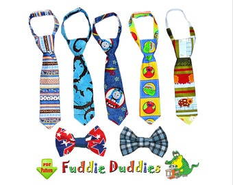 Boy's Tie Pattern and Bow Tie Pattern, Necktie Sewing Pattern. Toddler Pattern. INSTANT DOWNLOAD. Ties have 2 adjustable neck strap options.