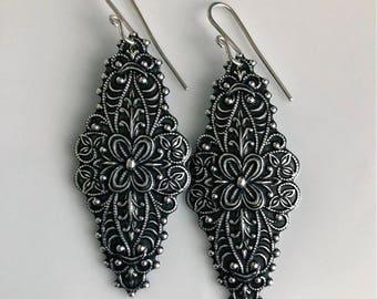 Bohemian Earrings   Ornate Silver Earrings   Sterling Silver Earrings