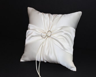 White or Ivory Wedding Ring Bearer Pillow