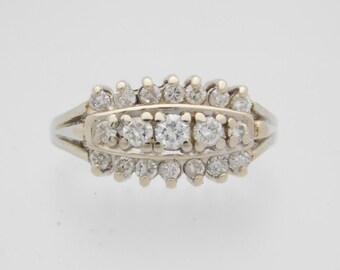 0.33 Carat T.W. Ladies Round Cut Diamond Cluster 14K White Gold