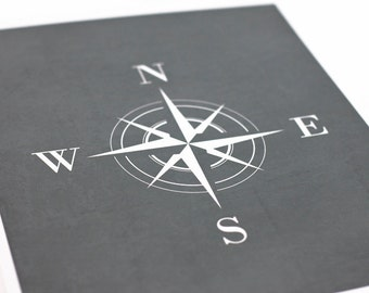 Compass Art Print / Nautical Set / Choose your Color and Background / 8x10 Digital Print / Wall Art Poster