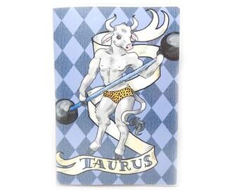 Passport Cover - Taurus the Strongman - zodiac passport holder - taurus the bull minotaur - retro circus carnival inspired travel accessory