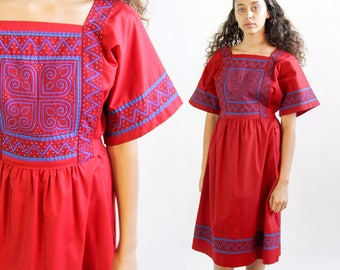 fare thee well -- vintage quilted and embroidered ethnic patchwork dress M/L