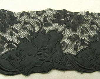 LACE in Ribbon-7 cm - embroidered black