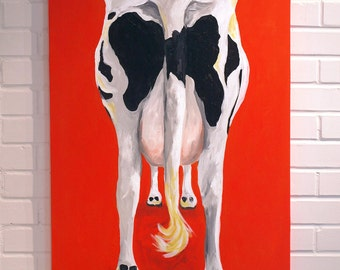 Cow Painting 24x36 Canvas Art Orange Black White Red Sally the Cow