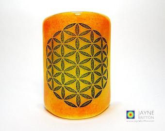 Flower of Life Sconce, mini light & candle screen, yellow,  orange blended background, sacred geometry, meditation, fused glass, meditation