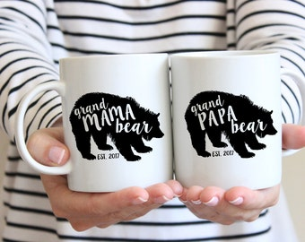 SET OF 2: GrandMama Bear and GrandPapa Bear Mugs . Christmas Mug for Nana Mimi - Gift for New Grandma and Grandpa - Gift for grandparents