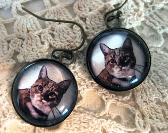 Orange Striped Tabby Earrings
