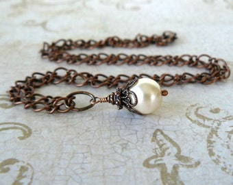 Cream Pearl Necklace, Pale Almond Glass Pearl Pendant, Vintage Style Romantic Jewelry, Ecru Pearl and Antique Copper Dangle