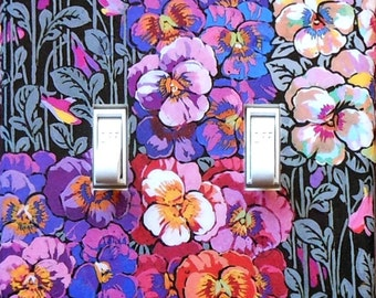 Art Nouveau Pansy Switchplates with MATCHING SCREWS- Art Nouveau wall decorArt Nouveau switch covers pansies pansy wallpaper Arts & Crafts