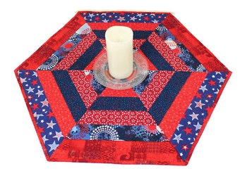 Stars Hexagon Patriotic Table Runner Quilt, 4th of July, Independence Day Red White and Blue Quilt, Quiltsy Handmade Patchwork Table Topper