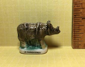 Tiny RHINO Rhinoceros Hand painted ZOO ANIMALS  - French Feve Feves Figurines Miniatures P300