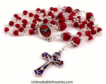 Red Jade Unbreakable Holy Spirit Rosary Beads w Stained Glass Style Enamel Crucifix by Unbreakable Rosaries