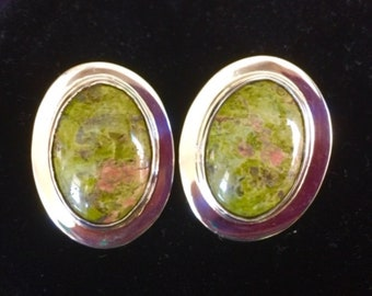 Unakite and Sterling Silver Earrings