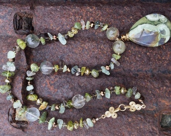 ENCHANTED FOREST Necklace (Rainforest Rhyolite, Moss Agate, Peridot, Smoky Quartz, Czech Crystal, 14K Gold-Filled Beads)