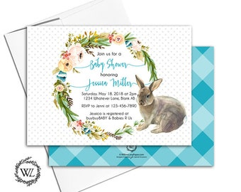 Boy baby shower invitation, bunny baby shower invites with turquoise gingham, floral wreath and polka dots - PRINTED - WLP00721