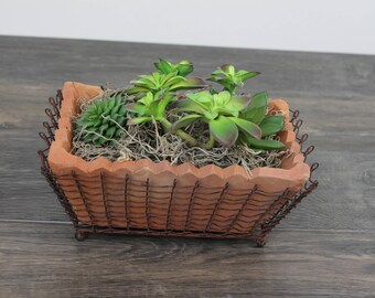 Artificial Succulent Planter in Rectangular Terra Cotta Pot with Wire Basket