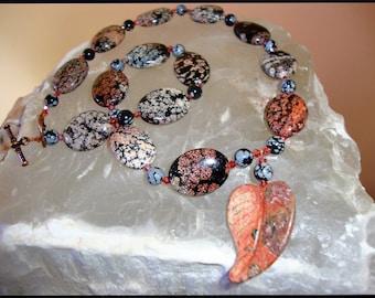 Red Snowflake Jasper & Snowflake Obsidian Necklace with Jasper Leaf Focal
