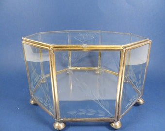 Vintage Large Etched Glass Brass Box - Large Octagon Glass Box - Jewelry Casket