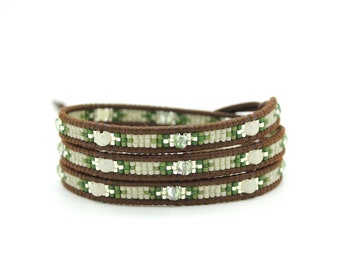 Taupe and Green Seed Beads Mix Wrap on Chocolate Brown Leather