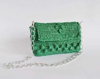 Crochet raffia Bag, green crochet Purse, shoulder raffia Purse, green crochet Bag, little green Bag, small Bag chain, evening Bag