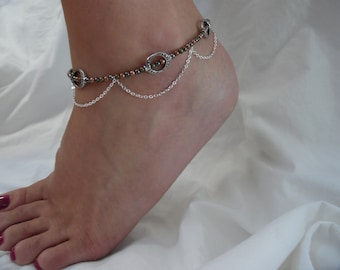 Mixed Metal Anklet with Silver Chain